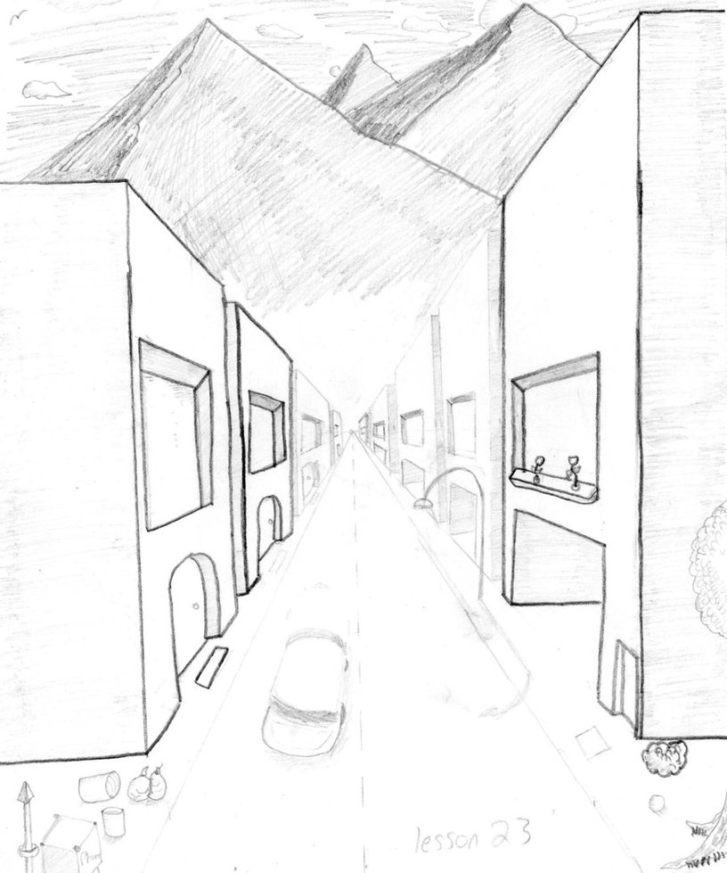 816x979 1 Point Perspective Drawing Room 1 Point Perspective By Art