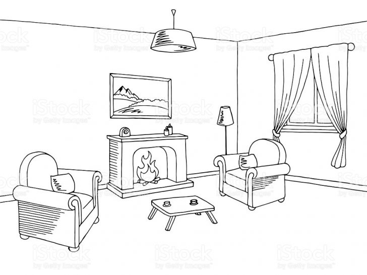 728x546 Living Room Clipart Line Drawing Black And White Sets Christ