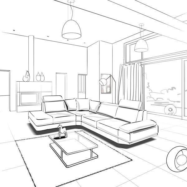 600x600 Living Room Sketch Interior Sketches Sketches
