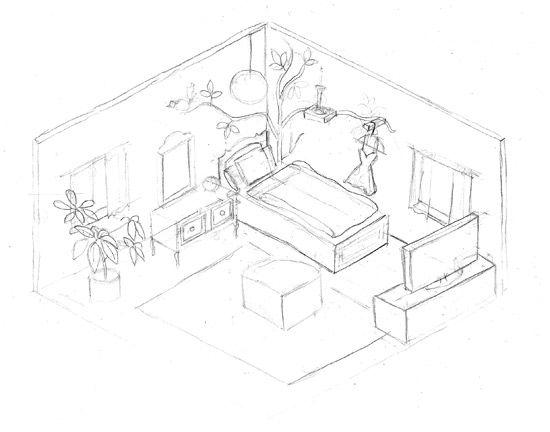 550x432 Photos Drawing A 3d Room,