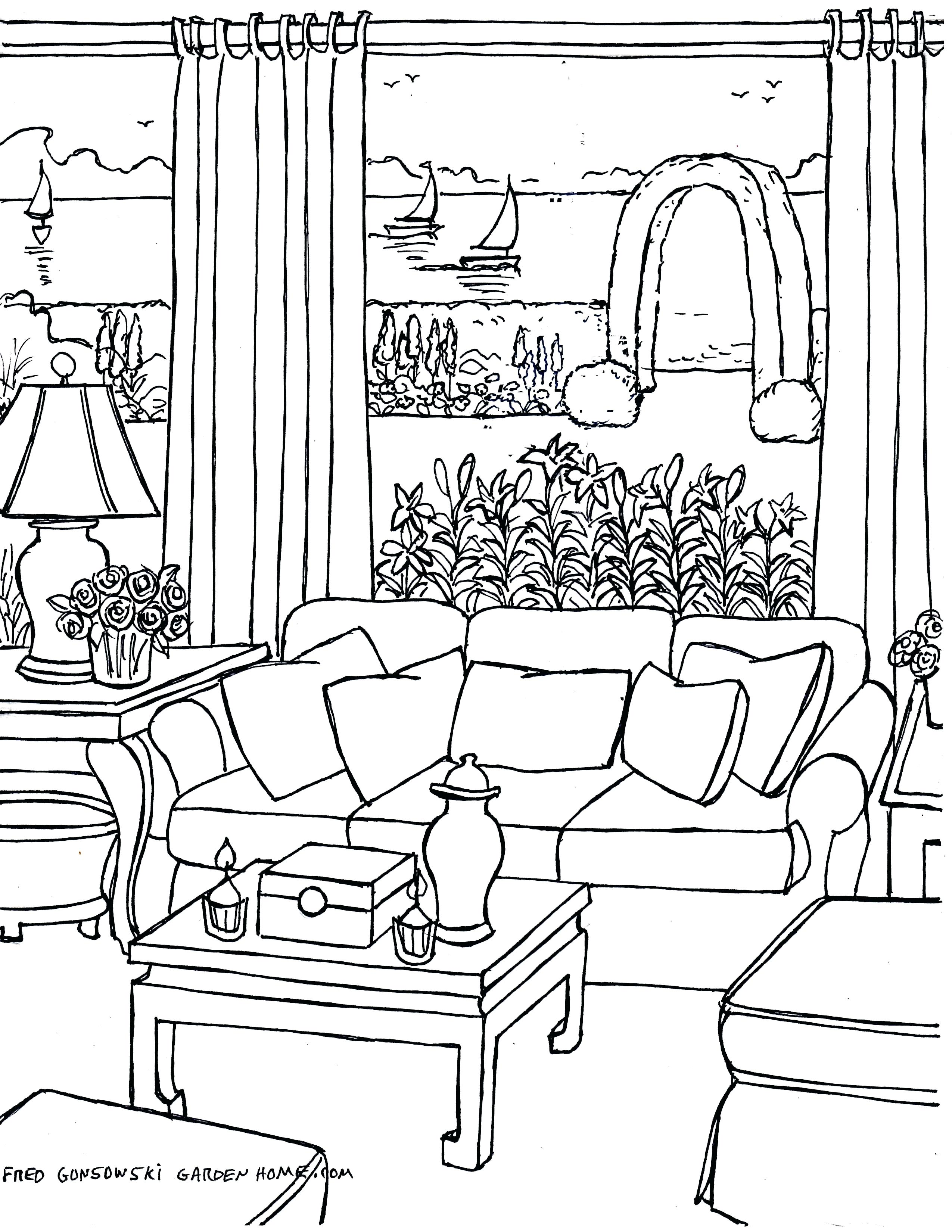 2550x3300 Coloring Living Room Coloring