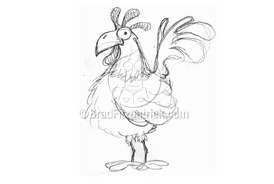 Rooster Cartoon Drawing