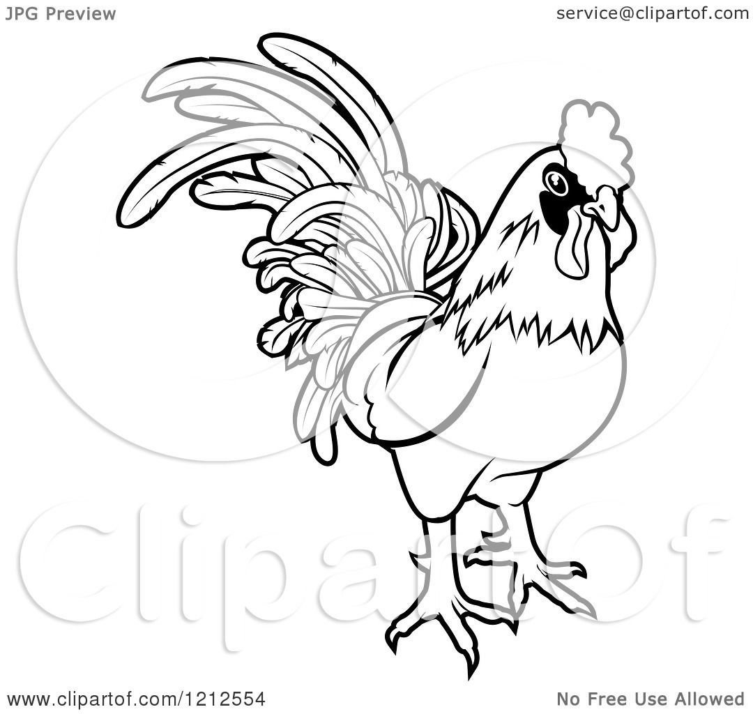 1080x1024 Cartoon Of An Outlined Chinese Zodiac Rooster