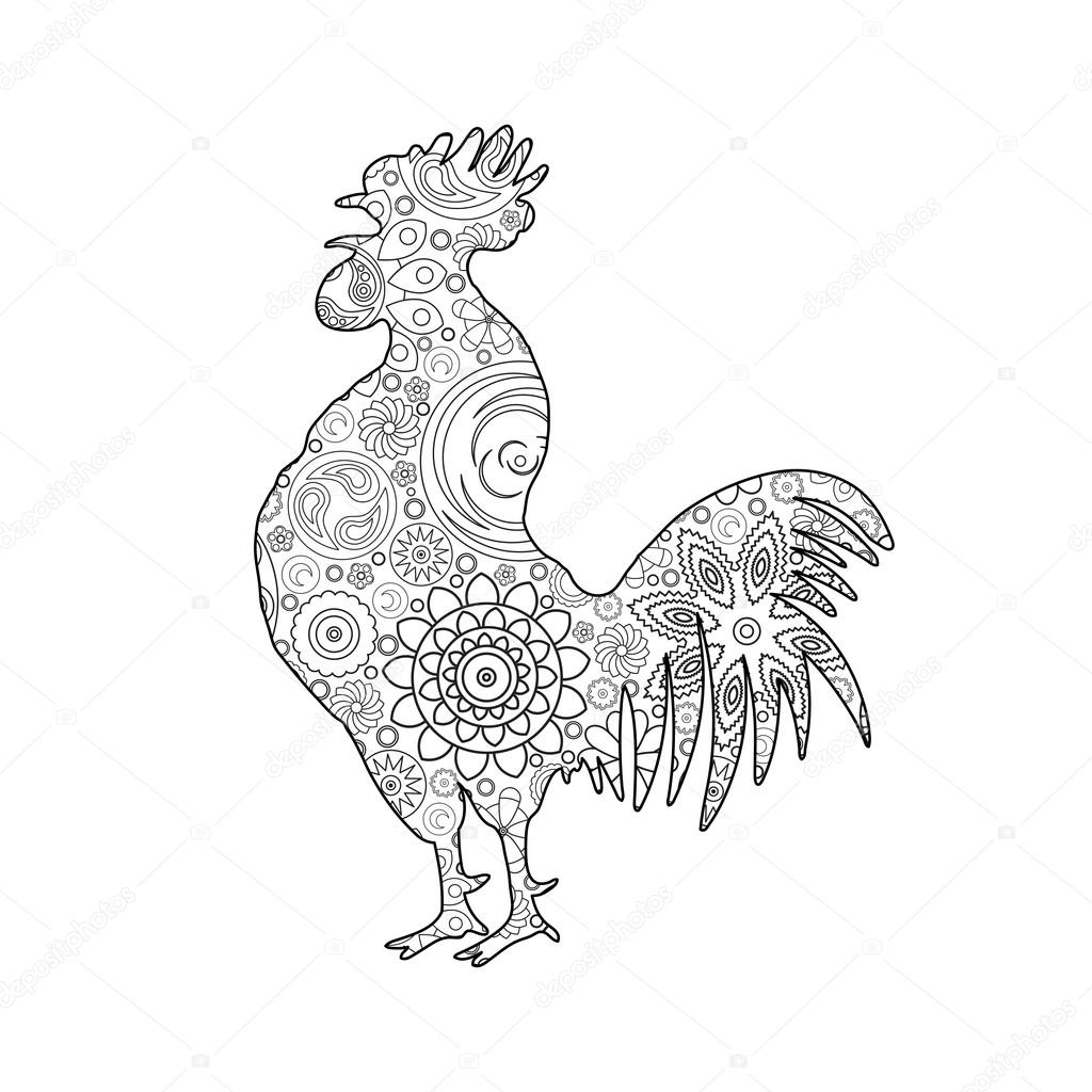 1024x1024 Chinese Hand Drawing Rooster Stock Vector Goldenshrimp