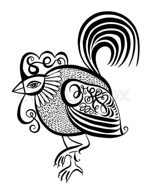 639x800 Original Black And White Line Art Rooster Calligraphy Drawing
