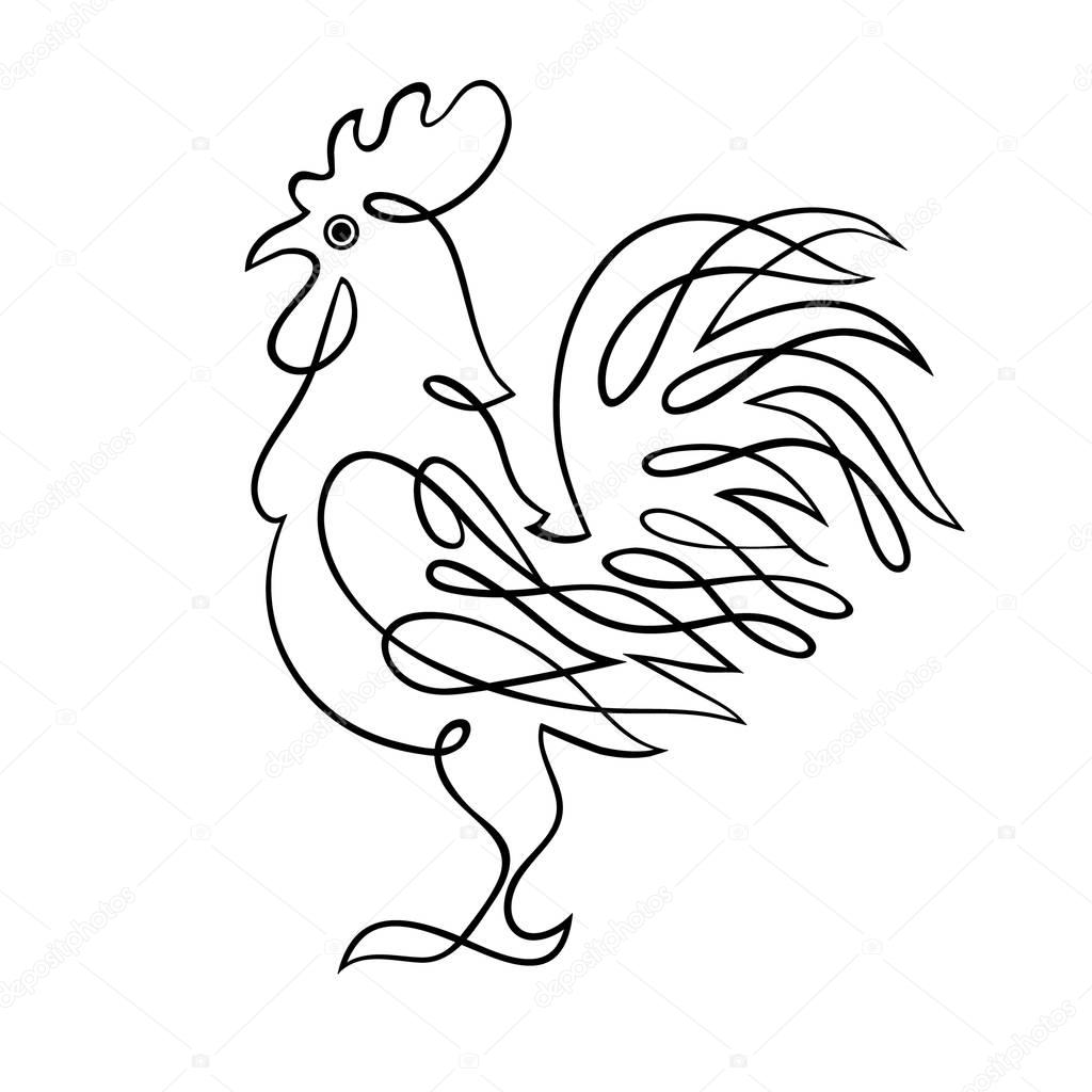 1024x1024 Year 2017 Symbol Chinese Rooster. Hand Drawing. Black Lines