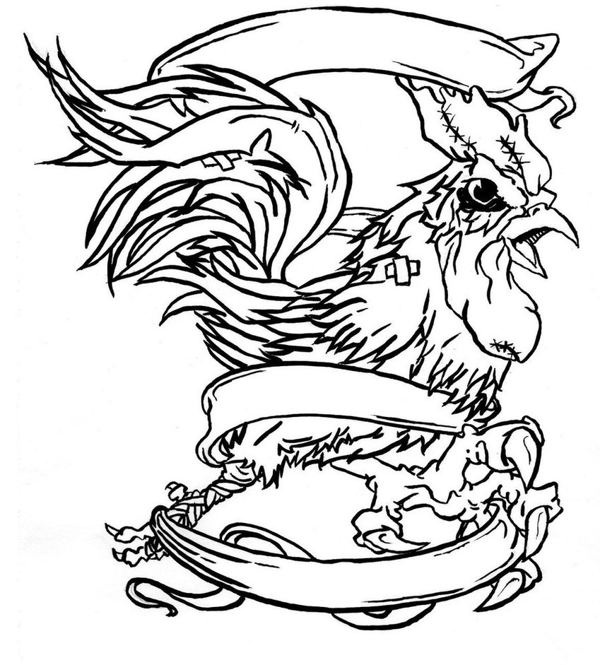 849x941 Fighting rooster drawings Bandaged Rooster By Omega Primate