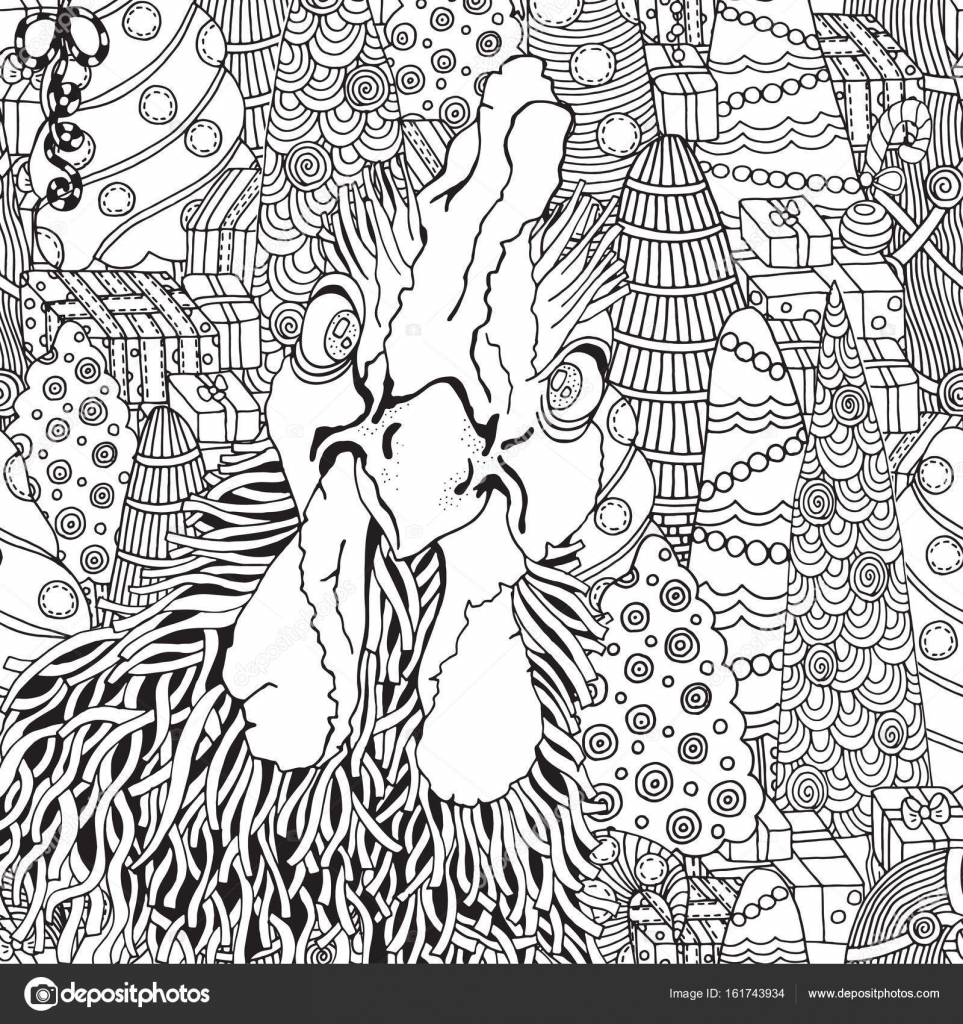 963x1024 Hand Drawn Rooster In Zentangle Style Stock Vector Imhope