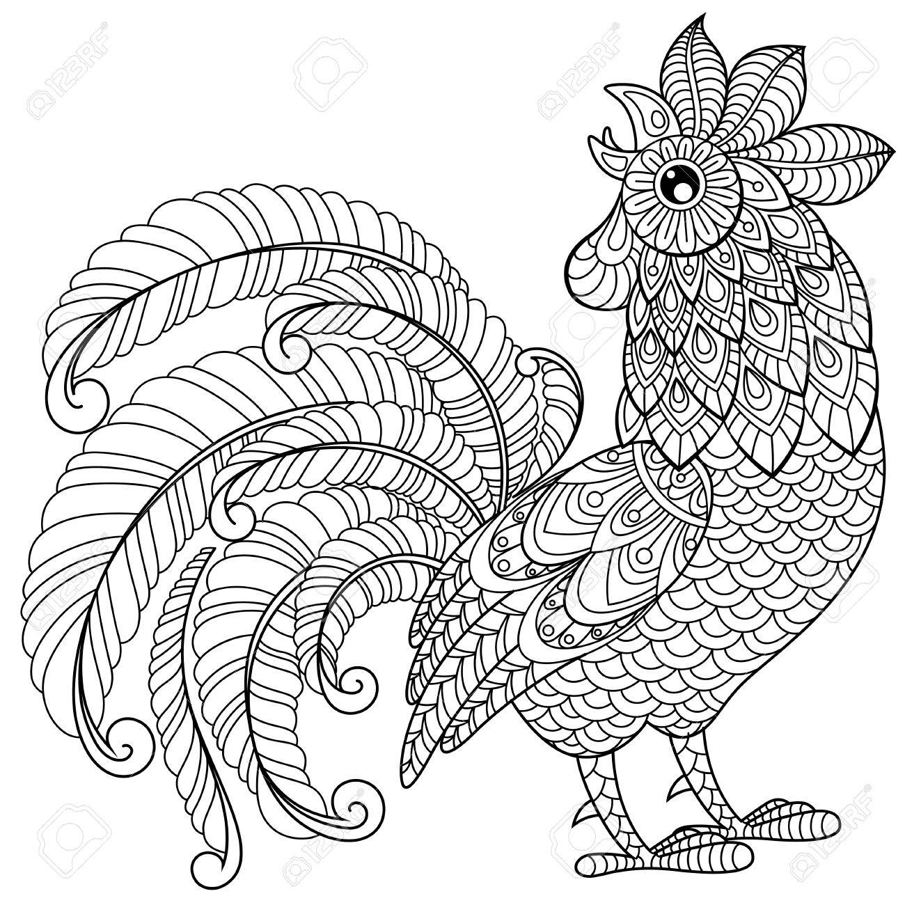 1300x1300 Rooster In Zentangle Style. Symbol Of Chinese New Year 2017