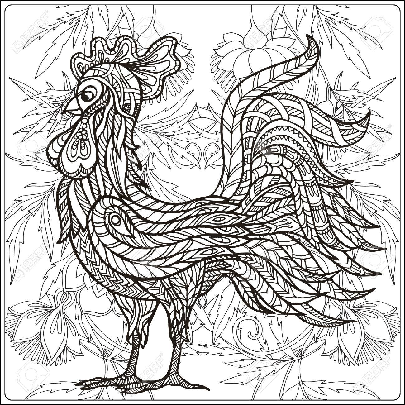 1300x1300 Rooster On Floral Background. Coloring Book For Adult And Older