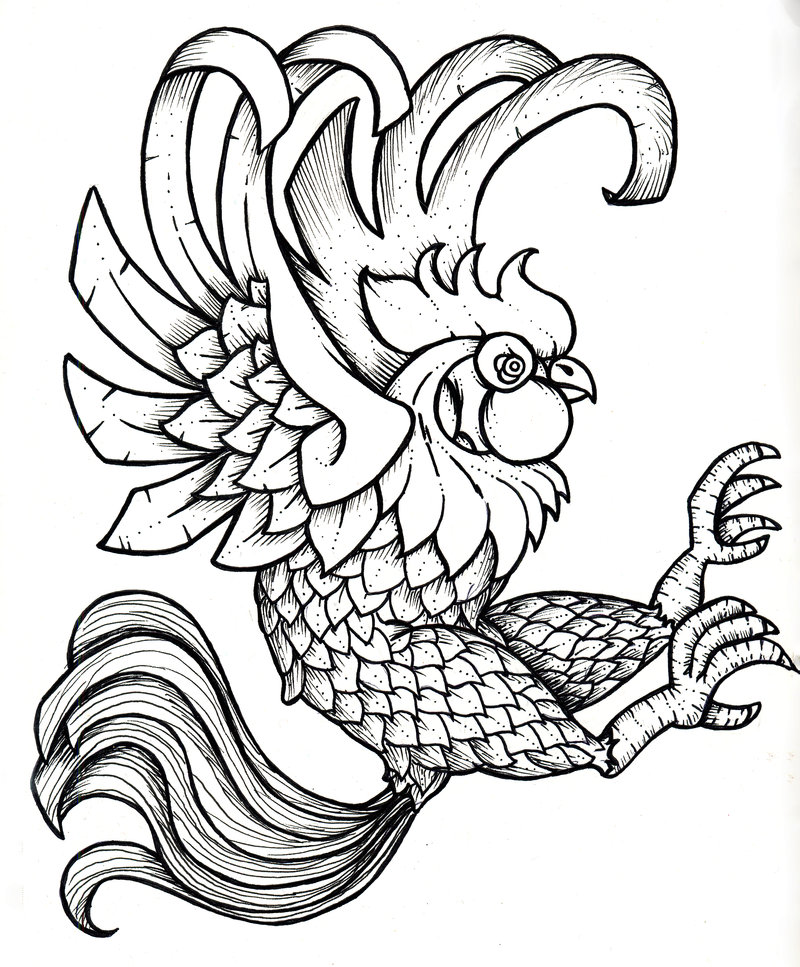800x967 Rooster Printable Black And White Black Rooster By ~cubos