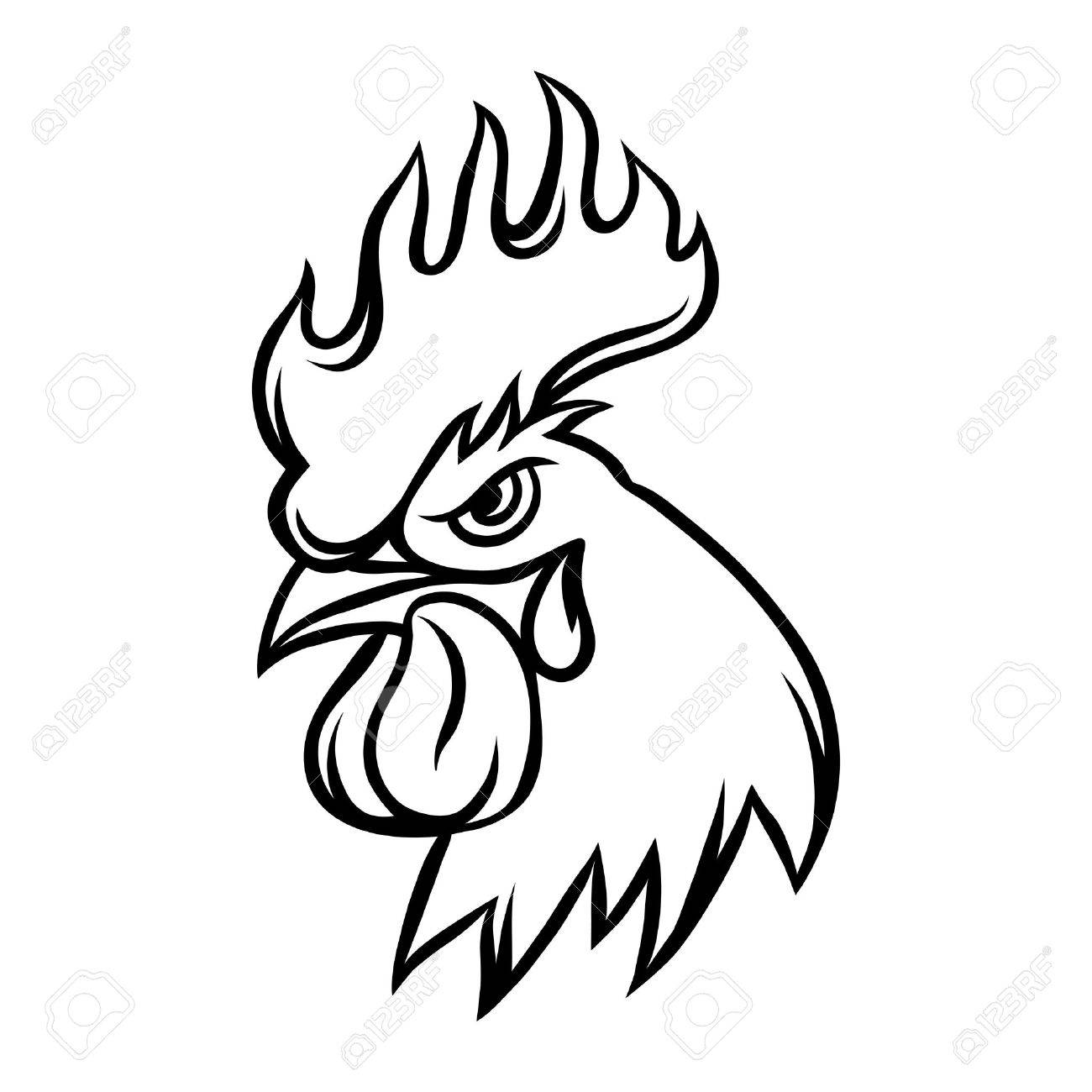 1300x1300 Hand Drawn Illustration Of Black Rooster On White Background