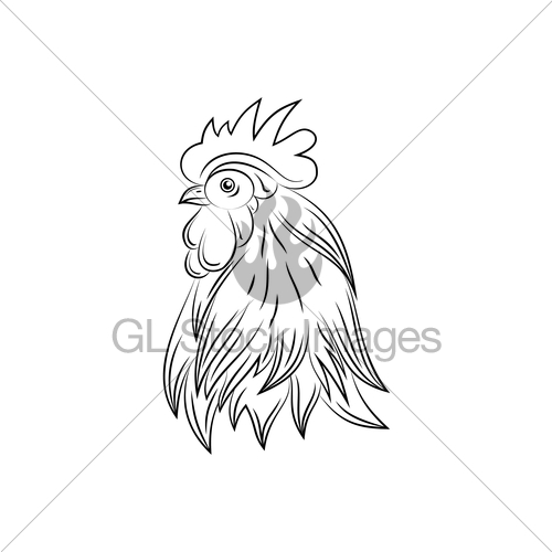 500x500 Head Of Rooster, Hand Drawn Style Gl Stock Images