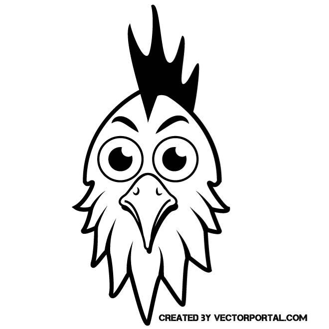 660x660 Rooster Head Vector Image
