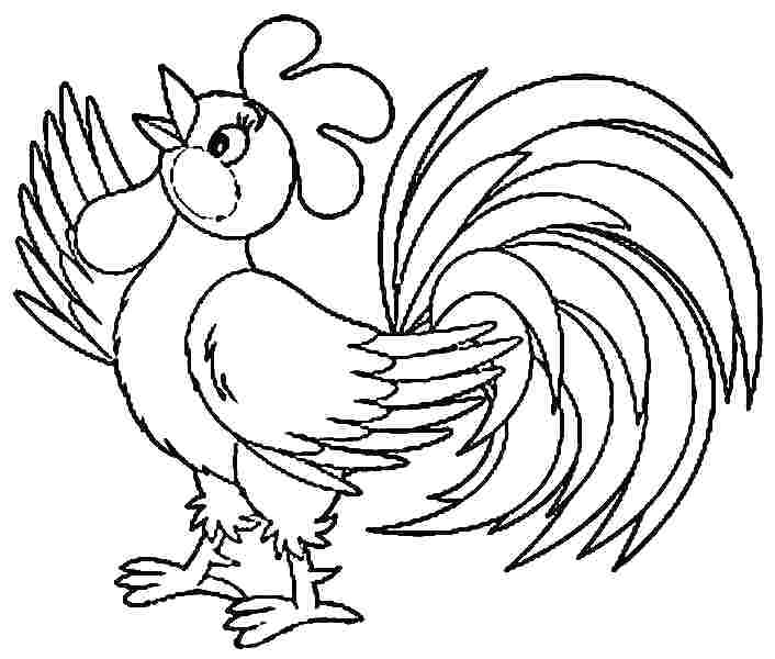 706x600 Reduced Rooster Coloring Page View Larger Craft Pages