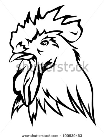 353x470 Rooster Head Outline Clipart