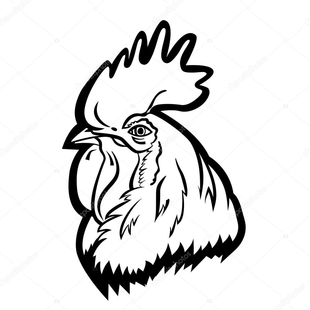 1024x1024 Rooster Logo Mascot. Isolated Rooster Head Vector Illustration