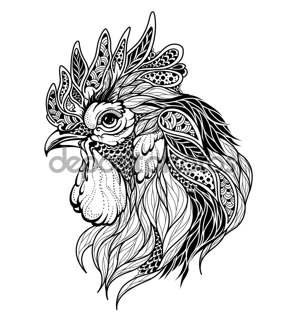 921x1023 Roosters Head Tattoo Stock Vector Diana Pryadieva