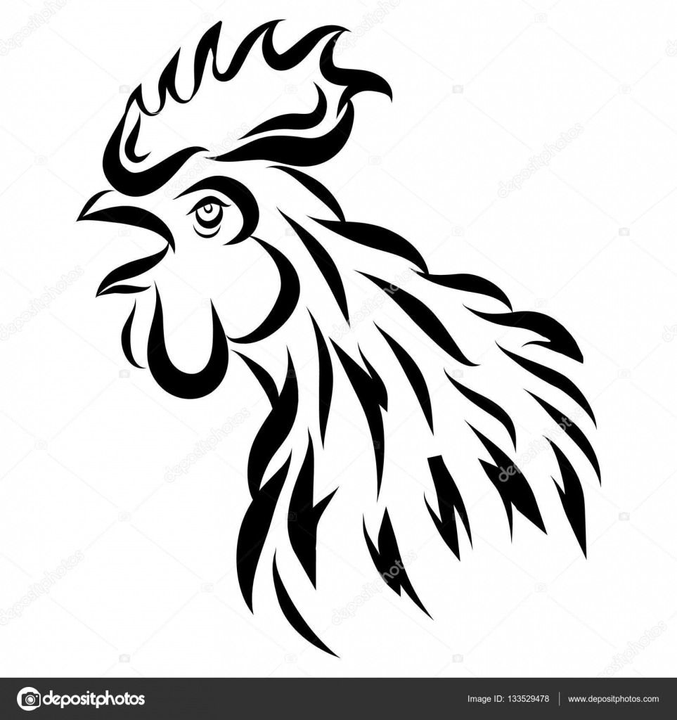 963x1024 Vector Illustration With Black Rooster Head Isolated On White