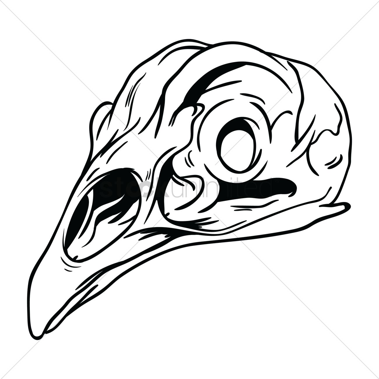 1300x1300 Free Rooster Skull Vector Image