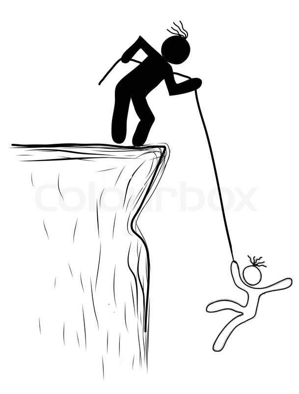 609x800 Drawing Person Pulled The Rope From The Cliff. Helping, Saved