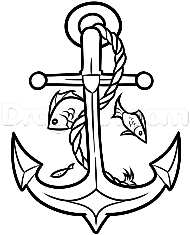 731x902 How To Draw An Anchor With A Rose Tags How To Draw An Anchor