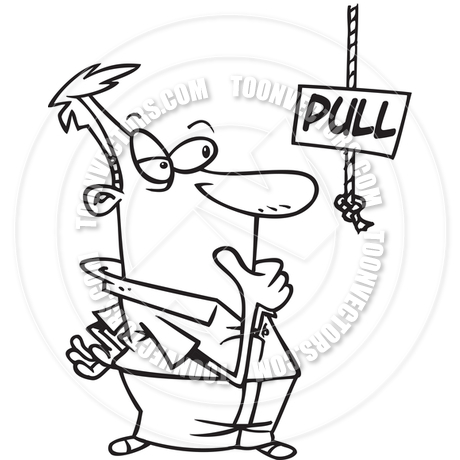 460x460 Cartoon Pull Rope (Black And White Line Art) By Ron Leishman