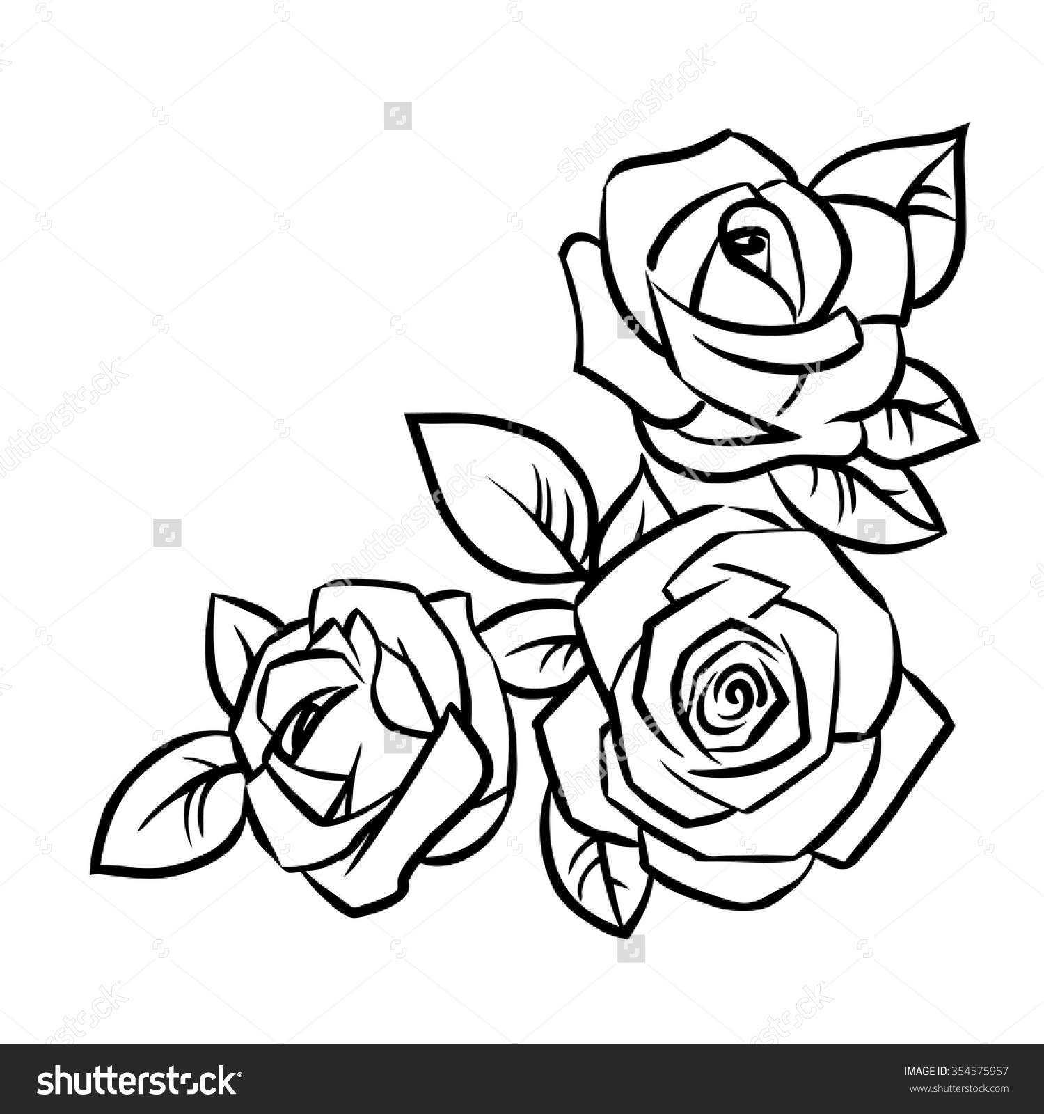 1500x1600 Simple Rose Outline Drawing