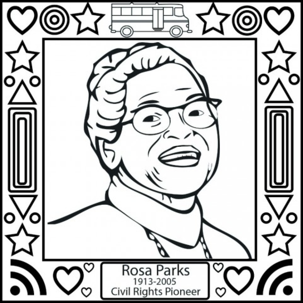 1024x1024 Rosa Parks Coloring Page Pertaining To Really Encourage