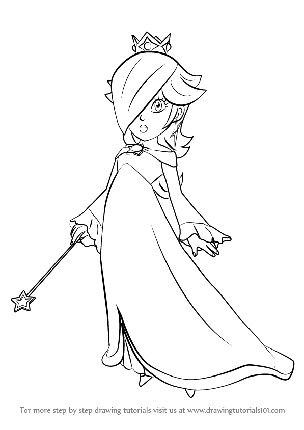 597x844 Learn How To Draw Rosalina From Super Mario (Super Mario) Step By
