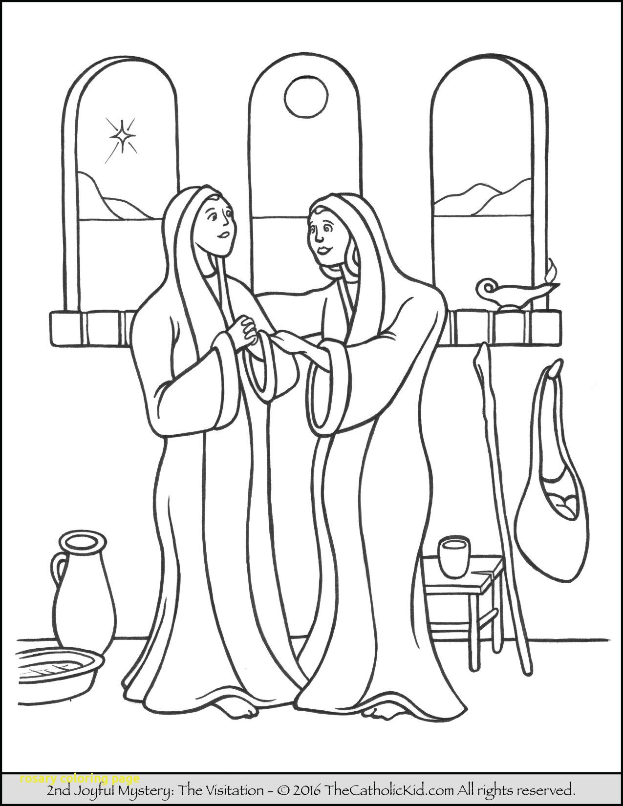 1275x1650 Rosary Coloring Page With The 2nd Joyful Mystery Coloring Page