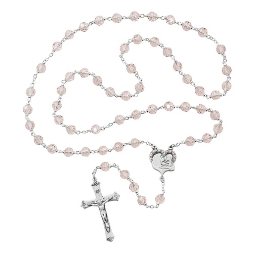 500x500 Mother And Child Pink Crystal Rosary The Catholic Company
