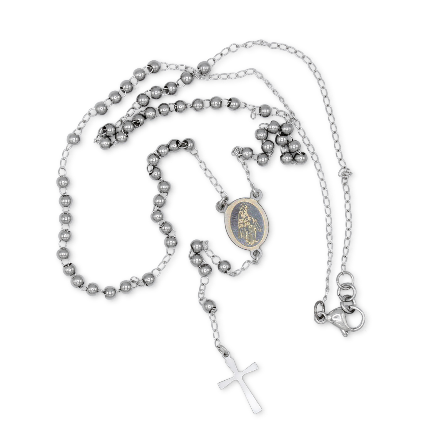 1500x1498 Traditional Rosary Necklace Five Decade Stainless Steel Catholic
