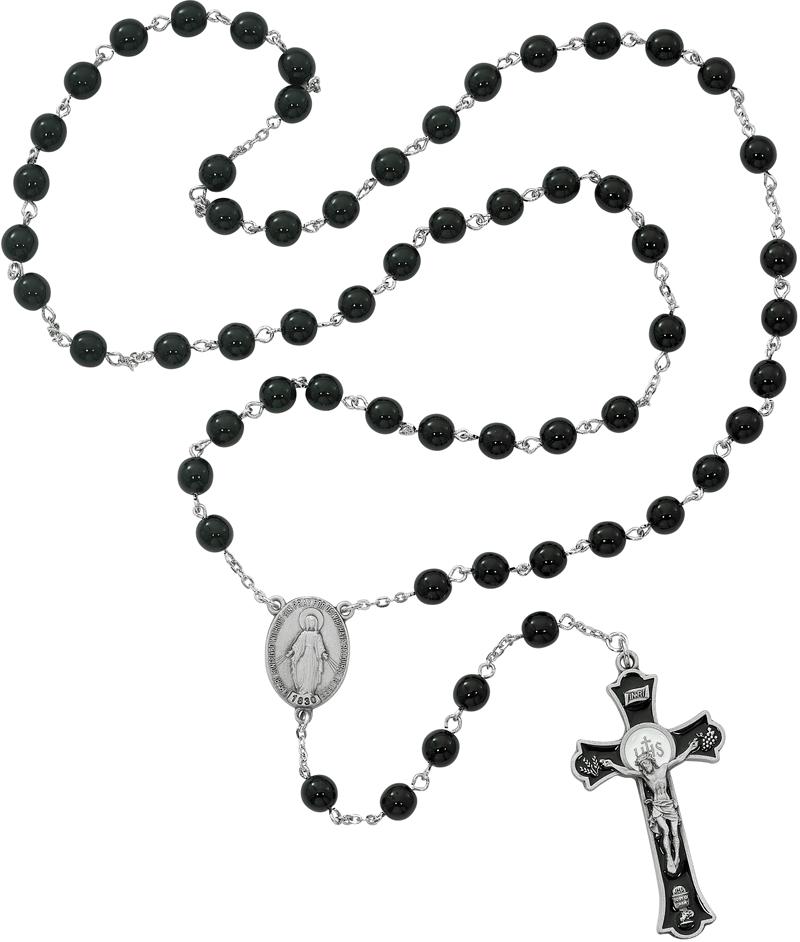 800x942 Holy Mass Black Glass Rosary