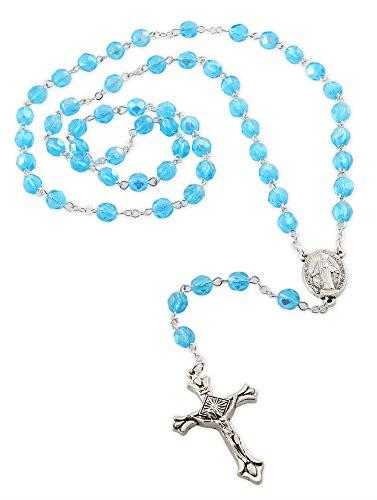 377x500 Our Lady Of Grace Medal Rosary With 6mm Light Blue Glass Crystal