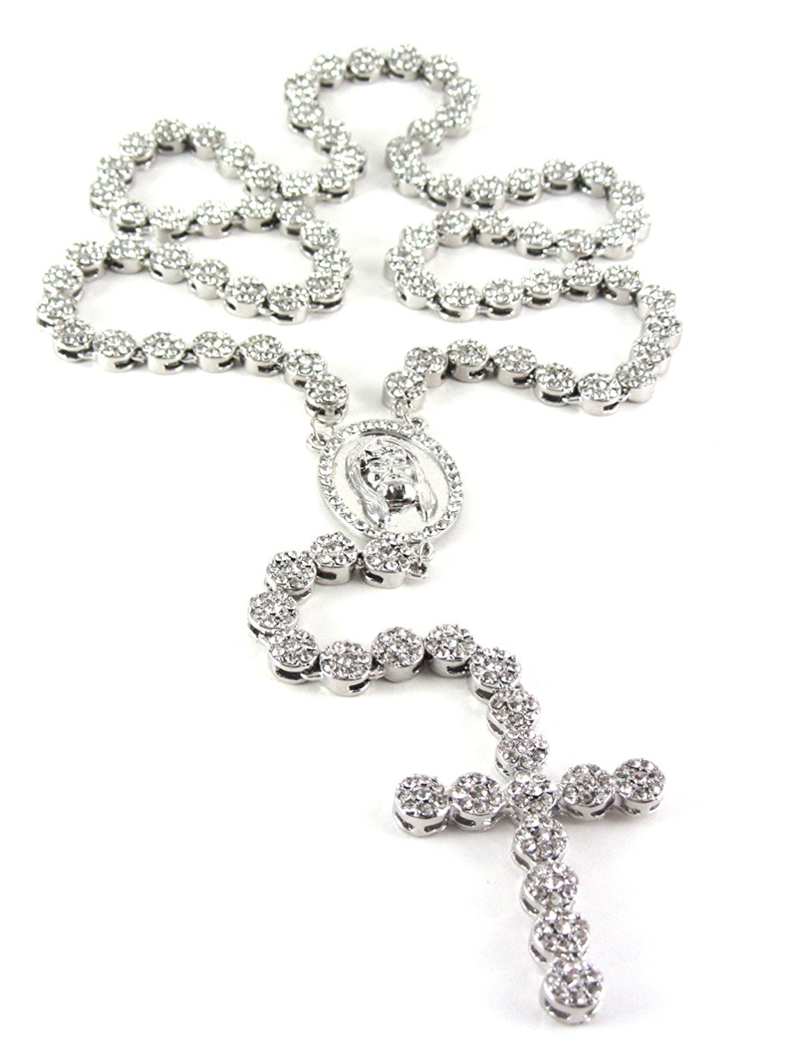 1158x1500 Iced Out 36 Silver Rosary Cluster Simulated Diamond