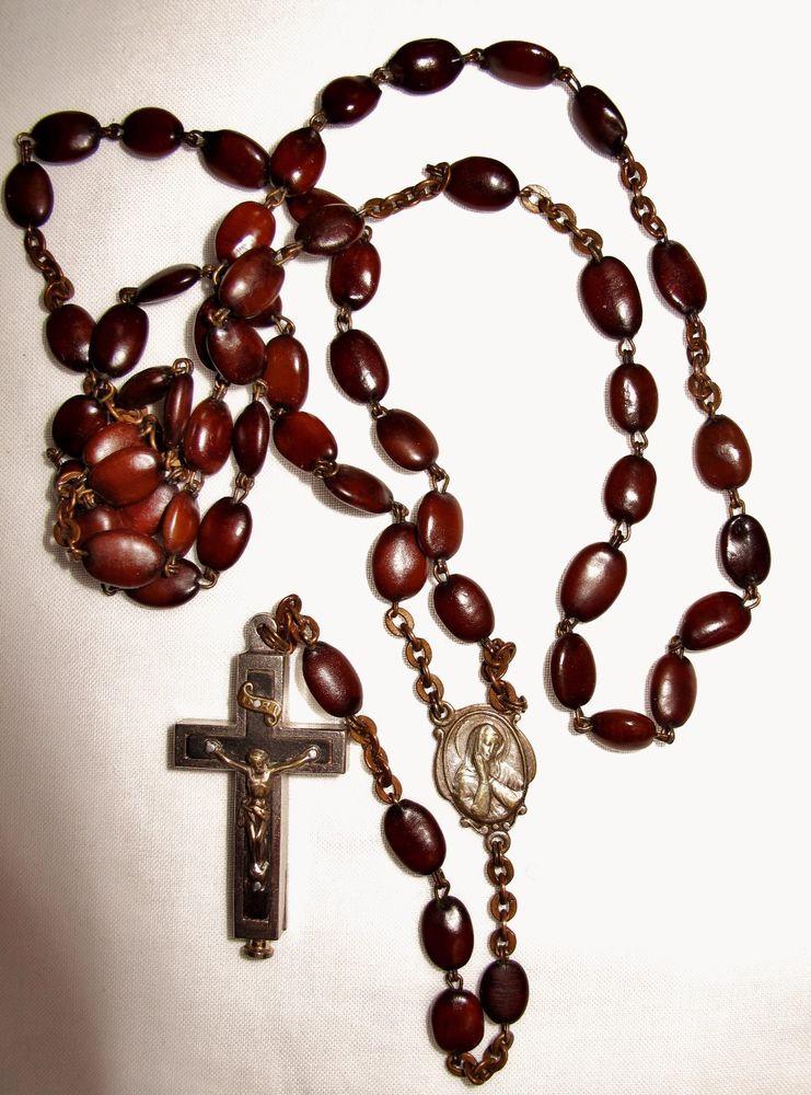 741x1000 Vtg Spina Christi Seeds Rosary Beads Reliquary Crucifix Terra