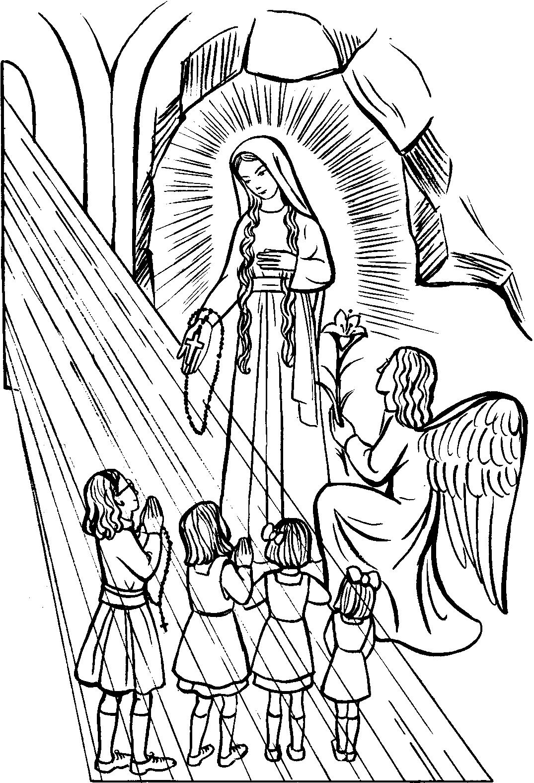 1075x1575 Our Lady Of The Rosary Catholic Coloring Page Feast Day Is Octob