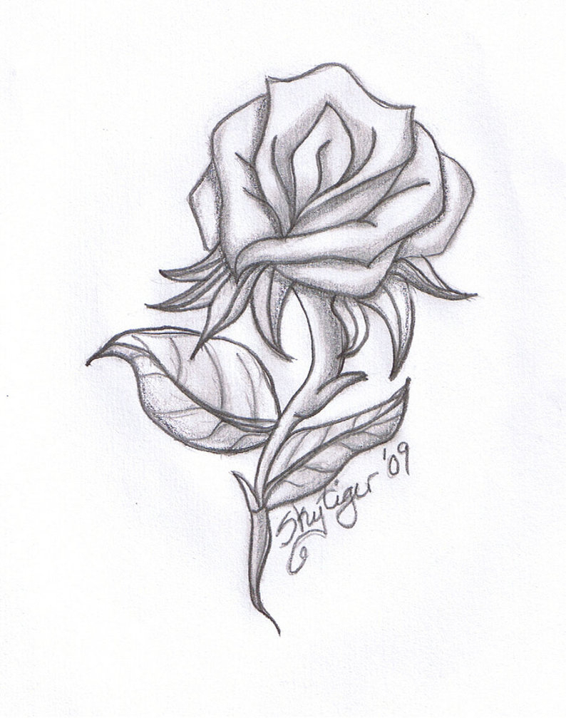 Rose And Cross Drawing