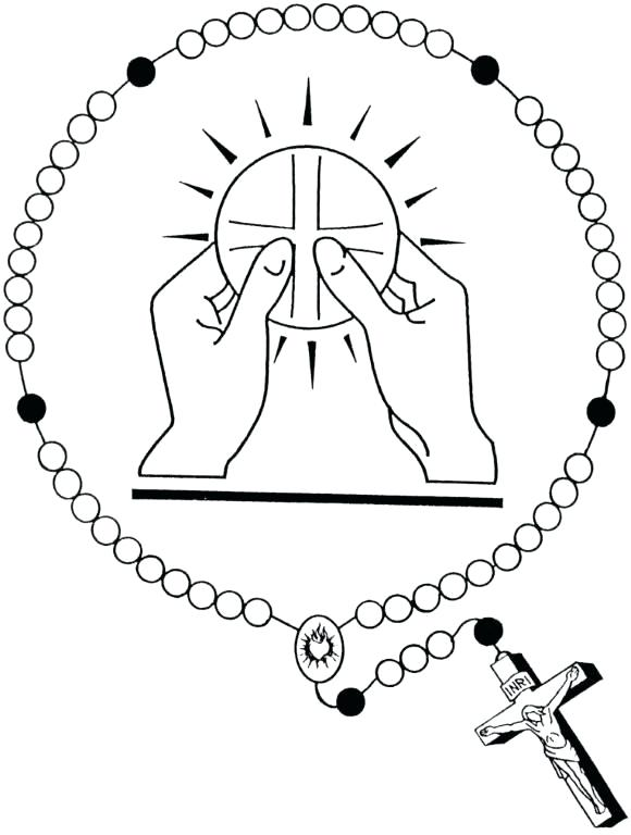 580x768 Rosary Beads Coloring Page Color Sheet Of Mary And Rosary