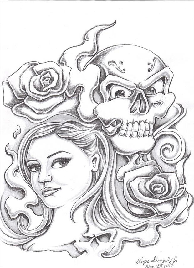 Rose And Skull Drawing