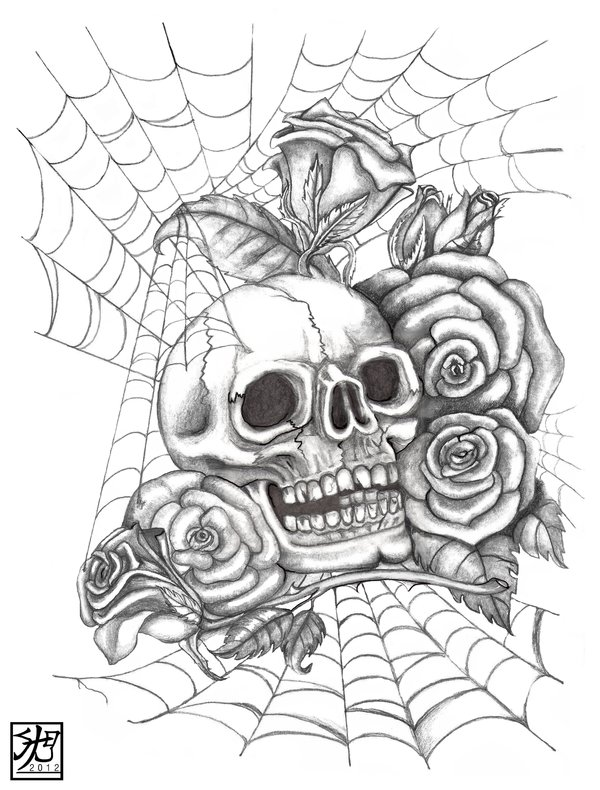 Rose And Skull Drawing at GetDrawings.com | Free for personal use ...