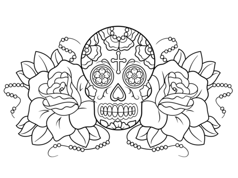 480x358 Sugar Skull And Roses Coloring Page Free Printable Pages