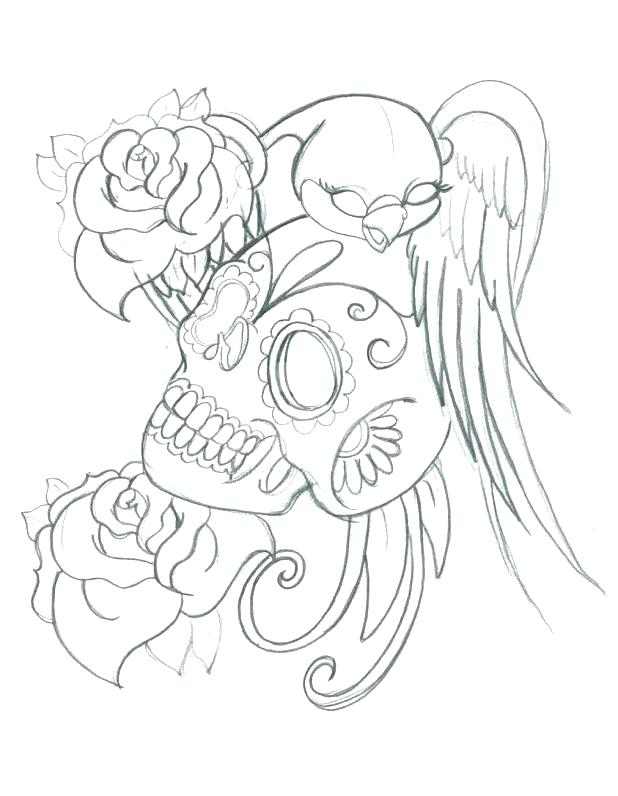 618x796 Tattoo Design Coloring Pages Amazing Skull And Roses