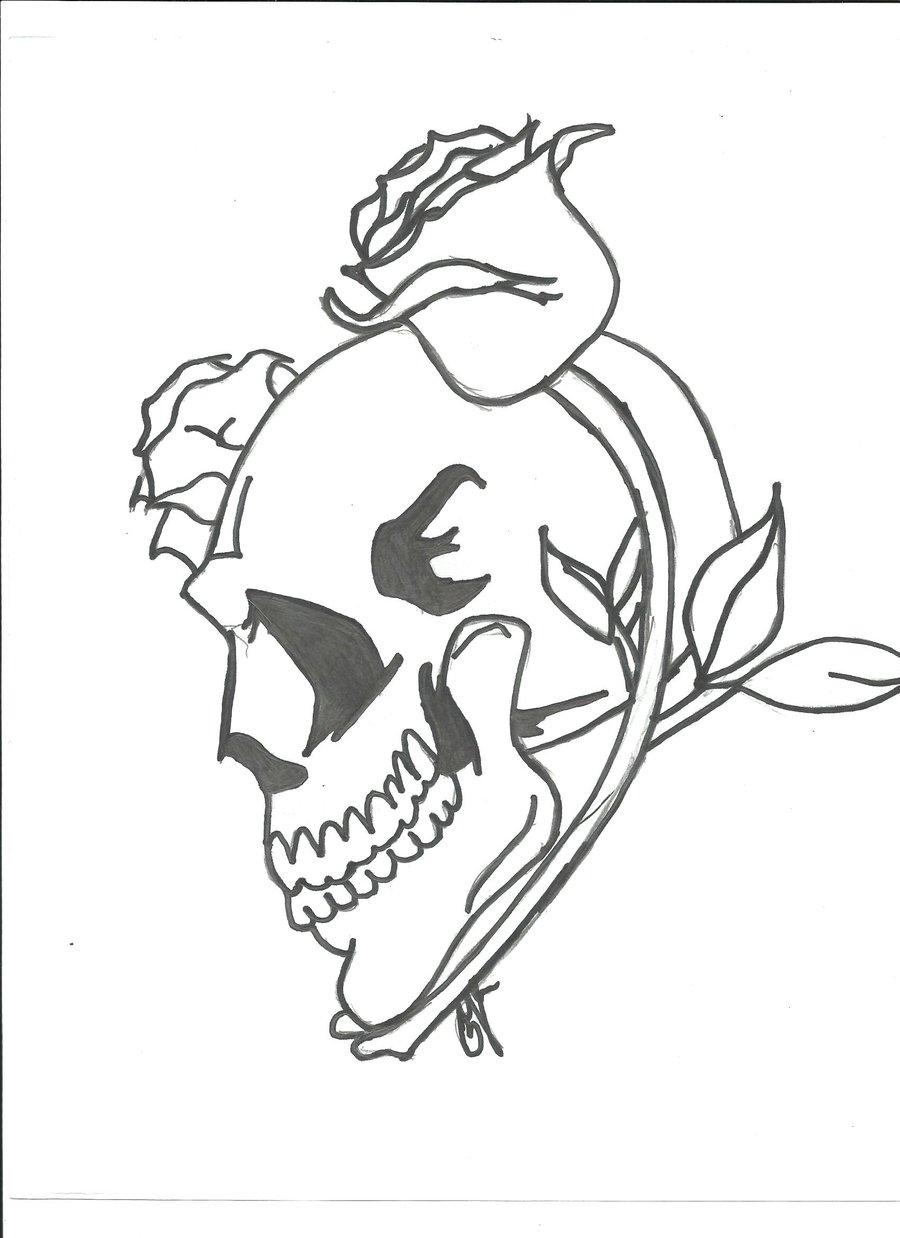 900x1238 Thorny Skull Rose By Dorkieeart