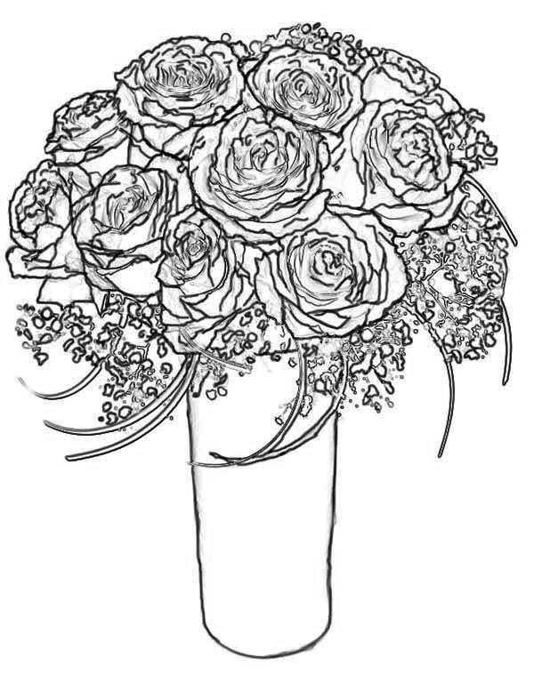 600x776 rose bouquet for wife coloring page - Coloring Page Rose