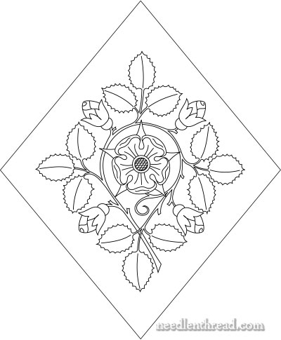 400x485 Free Hand Embroidery Pattern Rose With Buds
