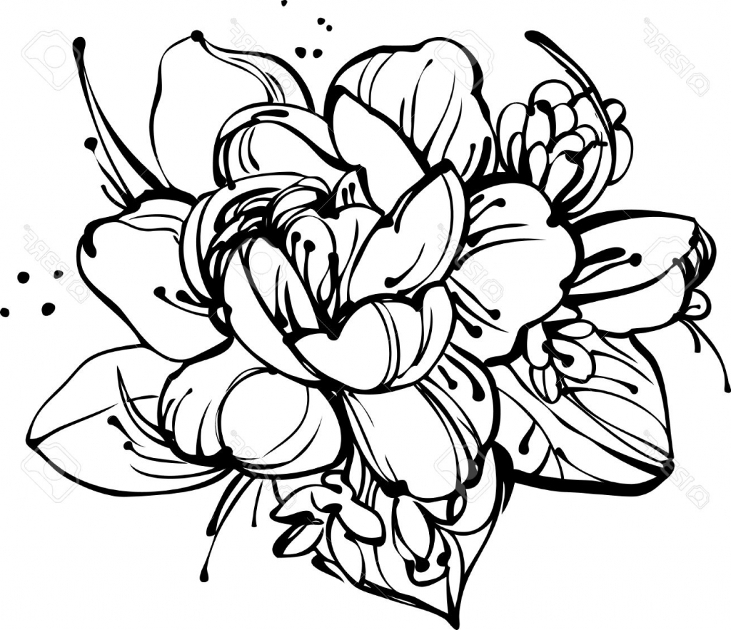1024x883 Draw A Bunch Of Flower Bouquet Of Roses Drawing Flower Bunch
