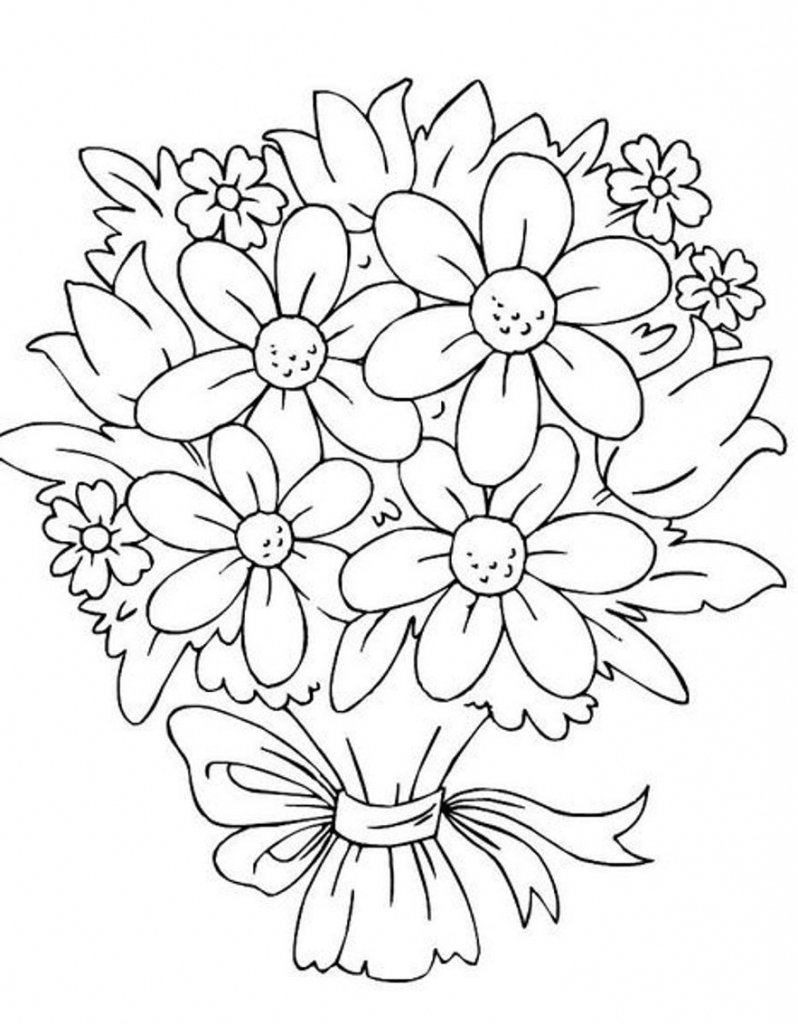 798x1024 Drawing Bunch Roses Bunch Flower Drawing Bouquet