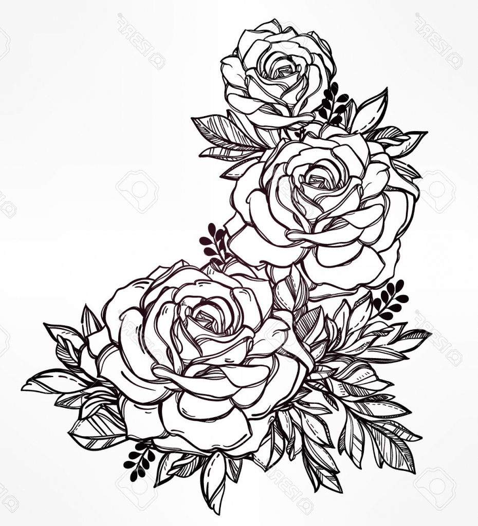 930x1024 Flower Bunch Sketches In Pencil Rose Flower Bunch Sketch Images